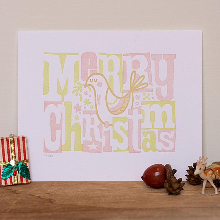 Merry Christmas Dove Print