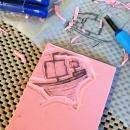 zipper bag - carving ship block