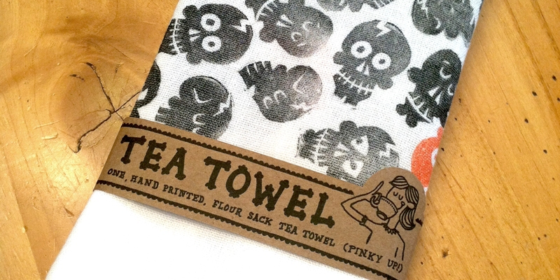 Polkadot Skull Tea Towel