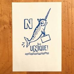 N Narwhal Print